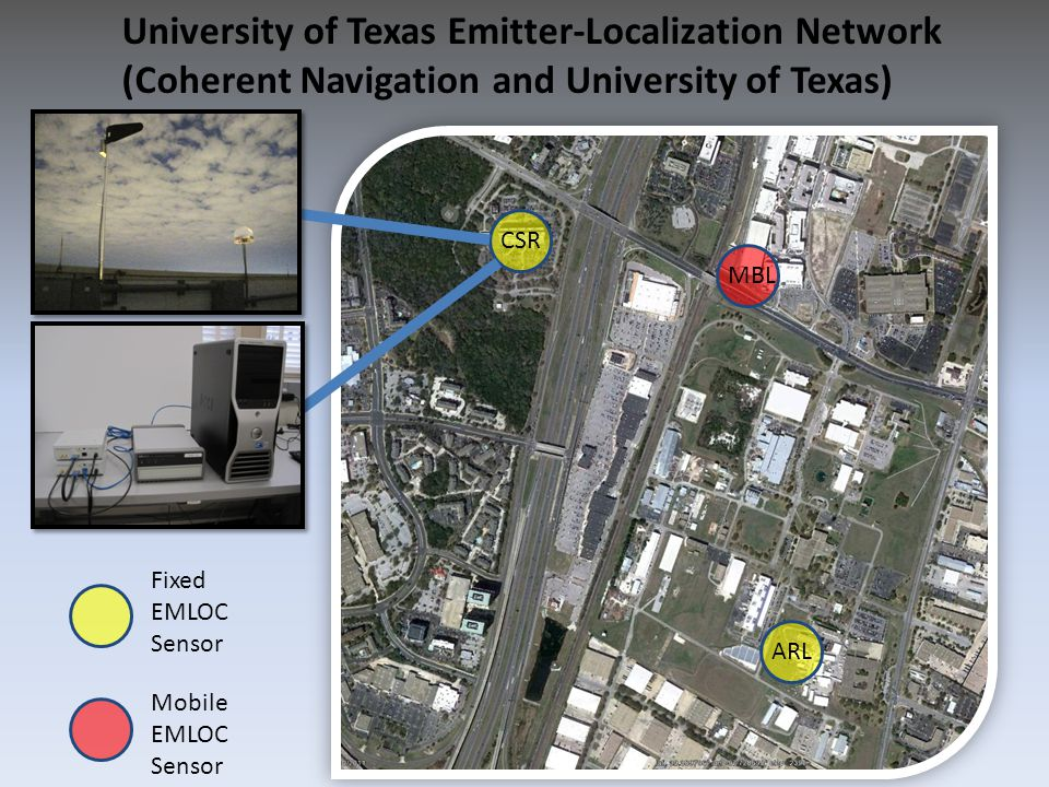 University of Texas Emitter-Localization Network (Coherent Navigation and University of Texas) Fixed EMLOC Sensor Mobile EMLOC Sensor CSR ARL MBL