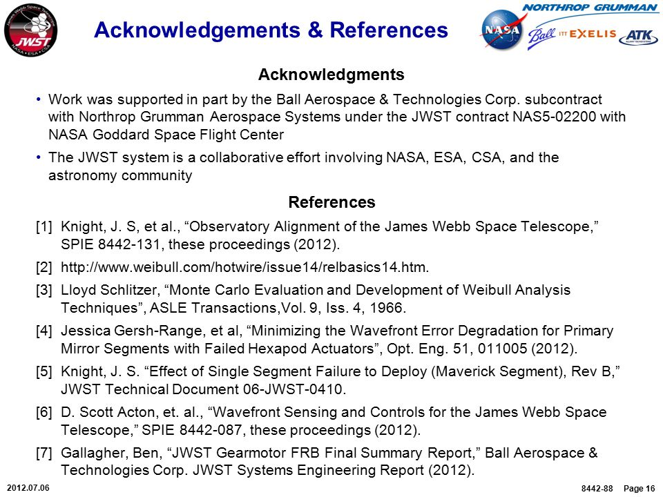 8442-88 Page 16 2012.07.06 Acknowledgements & References Acknowledgments Work was supported in part by the Ball Aerospace & Technologies Corp.