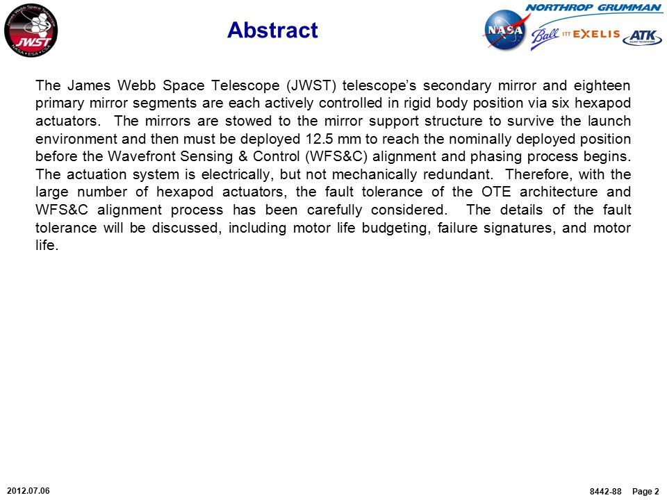 8442-88 Page 2 2012.07.06 Abstract The James Webb Space Telescope (JWST) telescope's secondary mirror and eighteen primary mirror segments are each ac