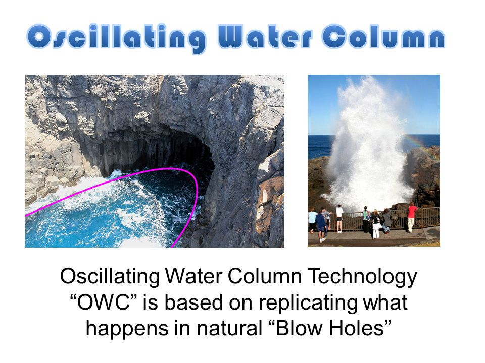 Oscillating Water Column Technology OWC is based on replicating what happens in natural Blow Holes
