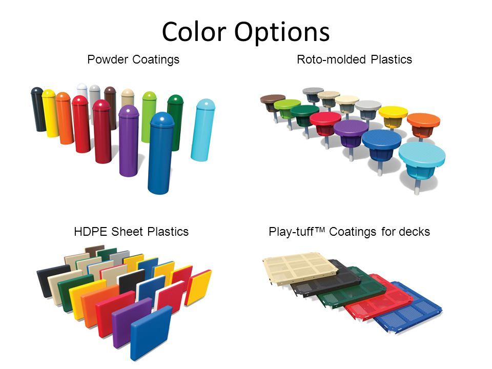 Color Options Powder CoatingsRoto-molded Plastics HDPE Sheet PlasticsPlay-tuff™ Coatings for decks