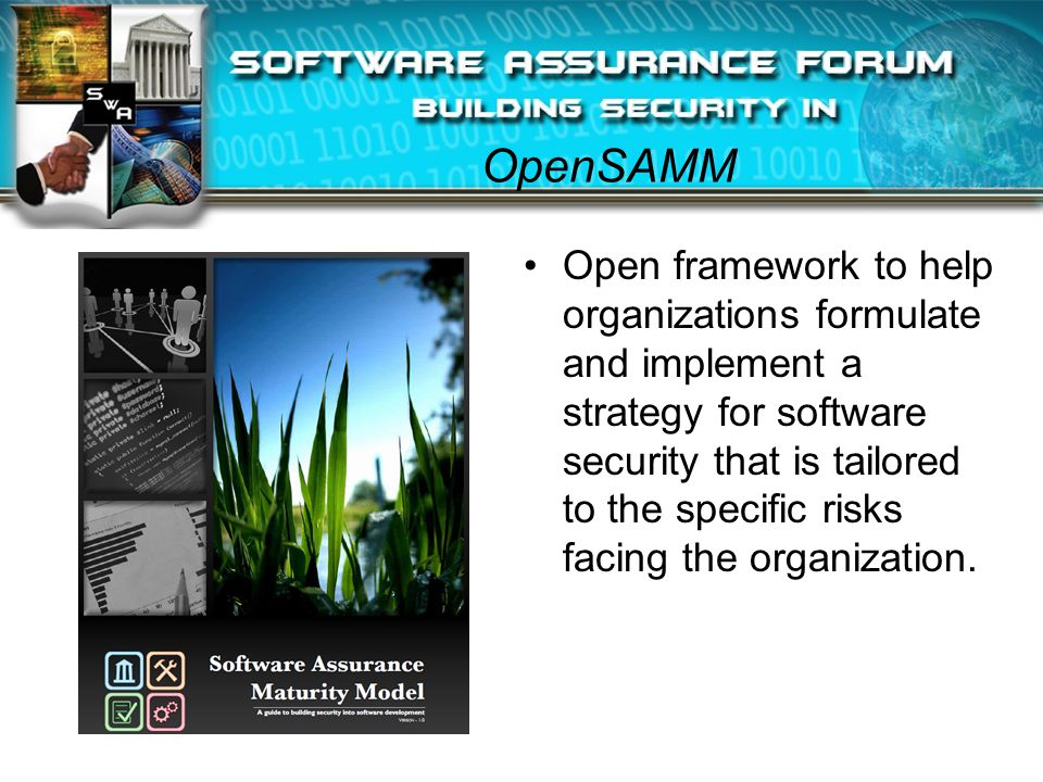 OpenSAMM Open framework to help organizations formulate and implement a strategy for software security that is tailored to the specific risks facing the organization.
