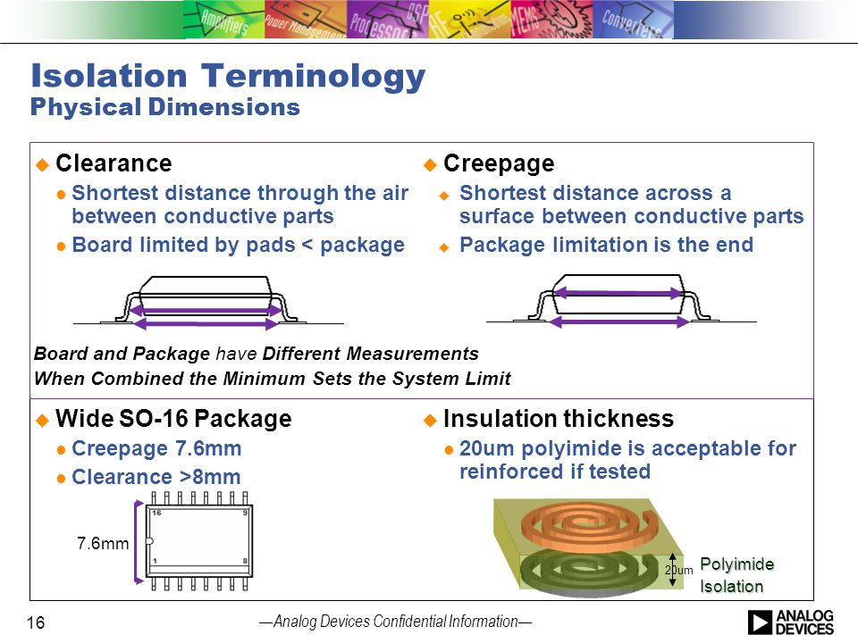 — Analog Devices Confidential Information —  Wide SO-16 Package Creepage 7.6mm Clearance >8mm  Insulation thickness 20um polyimide is acceptable for