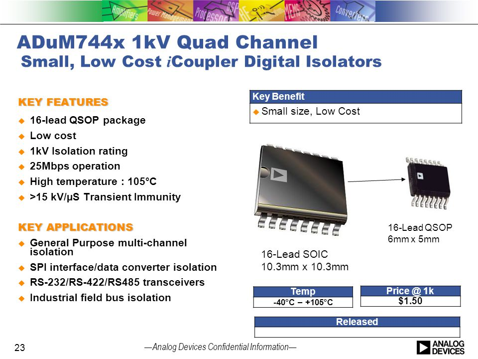— Analog Devices Confidential Information — ADuM744x 1kV Quad Channel Small, Low Cost i Coupler Digital Isolators KEY FEATURES  16-lead QSOP package