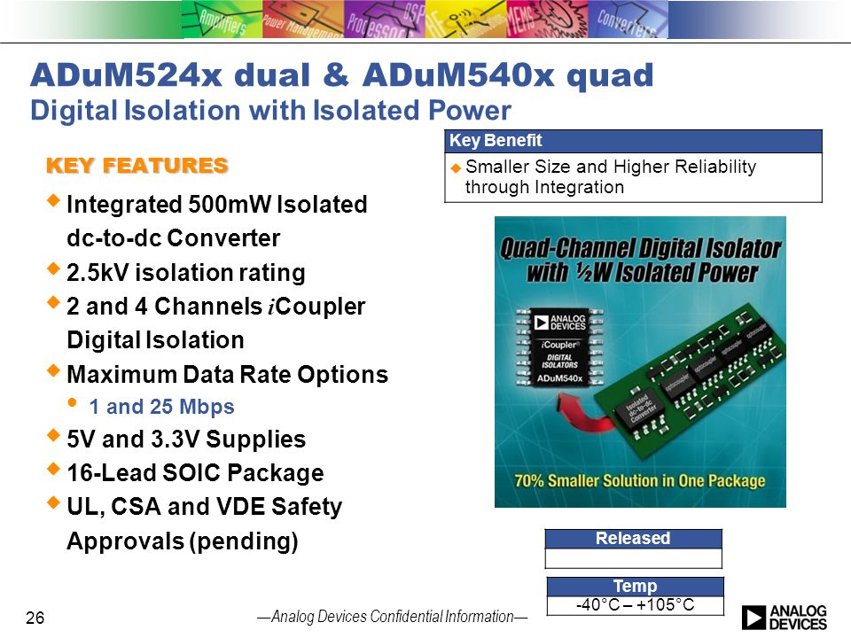 — Analog Devices Confidential Information — ADuM524x dual & ADuM540x quad Digital Isolation with Isolated Power KEY FEATURES  Integrated 500mW Isolat