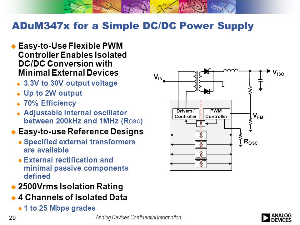 — Analog Devices Confidential Information — ADuM347x for a Simple DC/DC Power Supply  Easy-to-Use Flexible PWM Controller Enables Isolated DC/DC Conv