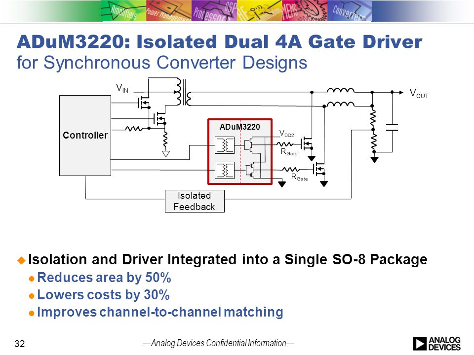 — Analog Devices Confidential Information — ADuM3220: Isolated Dual 4A Gate Driver for Synchronous Converter Designs  Isolation and Driver Integrated