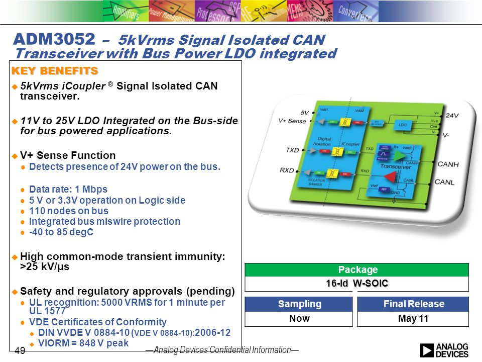 — Analog Devices Confidential Information — ADM3052 – 5kVrms Signal Isolated CAN Transceiver with Bus Power LDO integrated KEY BENEFITS  5kVrms iCoup