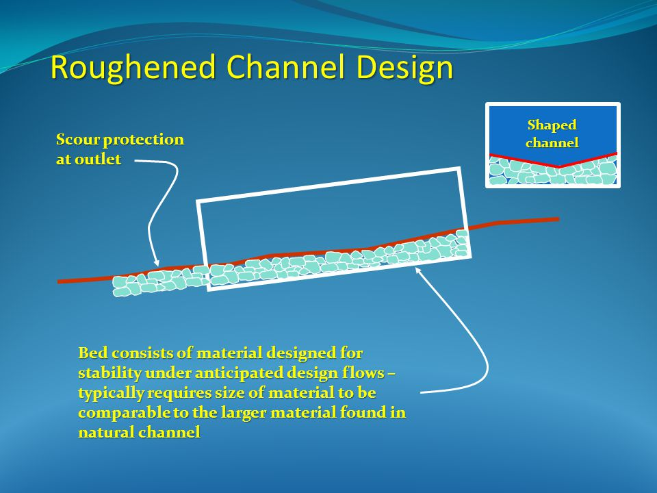 Roughened Channel Design Bed consists of material designed for stability under anticipated design flows – typically requires size of material to be comparable to the larger material found in natural channel Scour protection at outlet Shaped channel