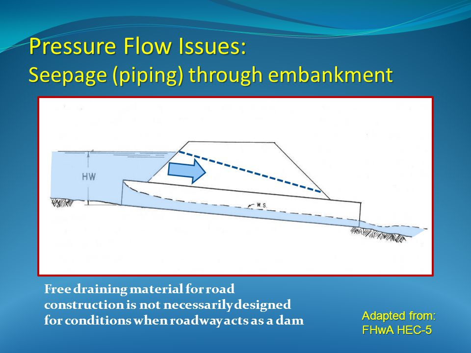 Adapted from: FHwA HEC-5 Pressure Flow Issues: Seepage (piping) through embankment Free draining material for road construction is not necessarily designed for conditions when roadway acts as a dam