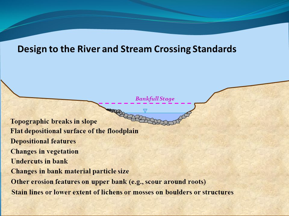 Design to the River and Stream Crossing Standards Topographic breaks in slope Depositional features Changes in vegetation Changes in bank material particle size Undercuts in bank Other erosion features on upper bank (e.g., scour around roots) Stain lines or lower extent of lichens or mosses on boulders or structures Flat depositional surface of the floodplain Bankfull Stage