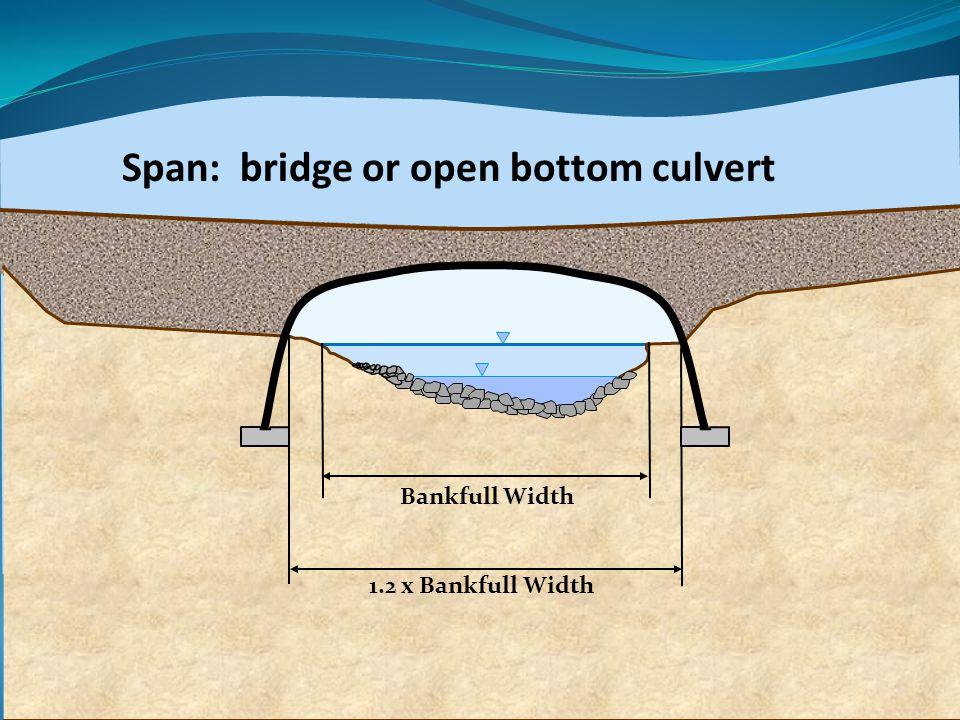 Bankfull Width 1.2 x Bankfull Width Span: bridge or open bottom culvert