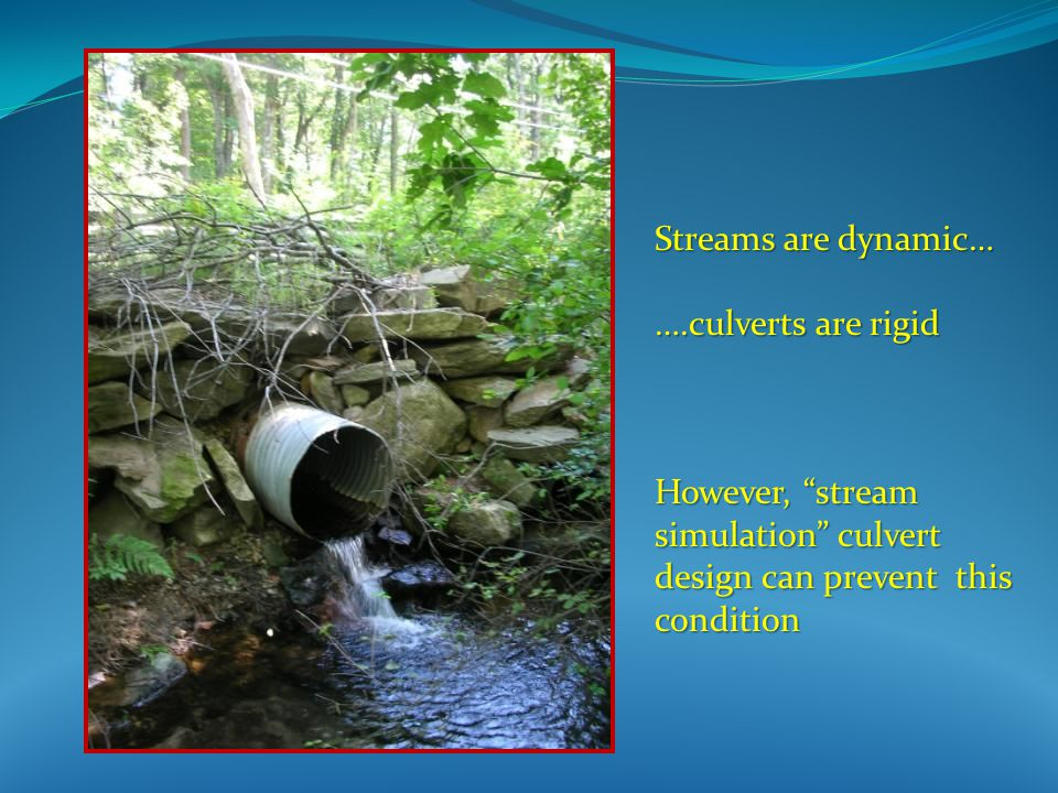 Streams are dynamic… ….culverts are rigid However, stream simulation culvert design can prevent this condition