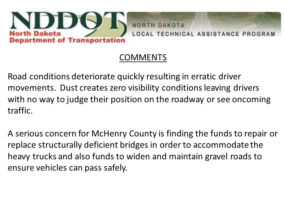COMMENTS Road conditions deteriorate quickly resulting in erratic driver movements.