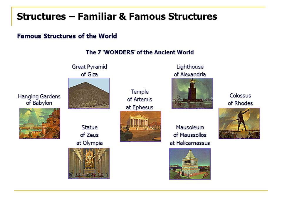 Structures – Familiar & Famous Structures Famous Structures of the World The 7 'WONDERS' of the Ancient World Great Pyramid of Giza Lighthouse of Alexandria Hanging Gardens of Babylon Temple of Artemis at Ephesus Colossus of Rhodes Statue of Zeus at Olympia Mausoleum of Maussollos at Halicarnassus