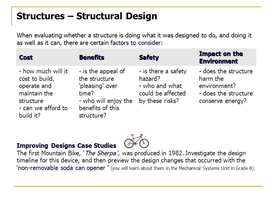Structures – Structural Design When evaluating whether a structure is doing what it was designed to do, and doing it as well as it can, there are certain factors to consider: Improving Designs Case Studies The Sherpa 'non-removable soda can opener ' The first Mountain Bike, 'The Sherpa ', was produced in 1982.