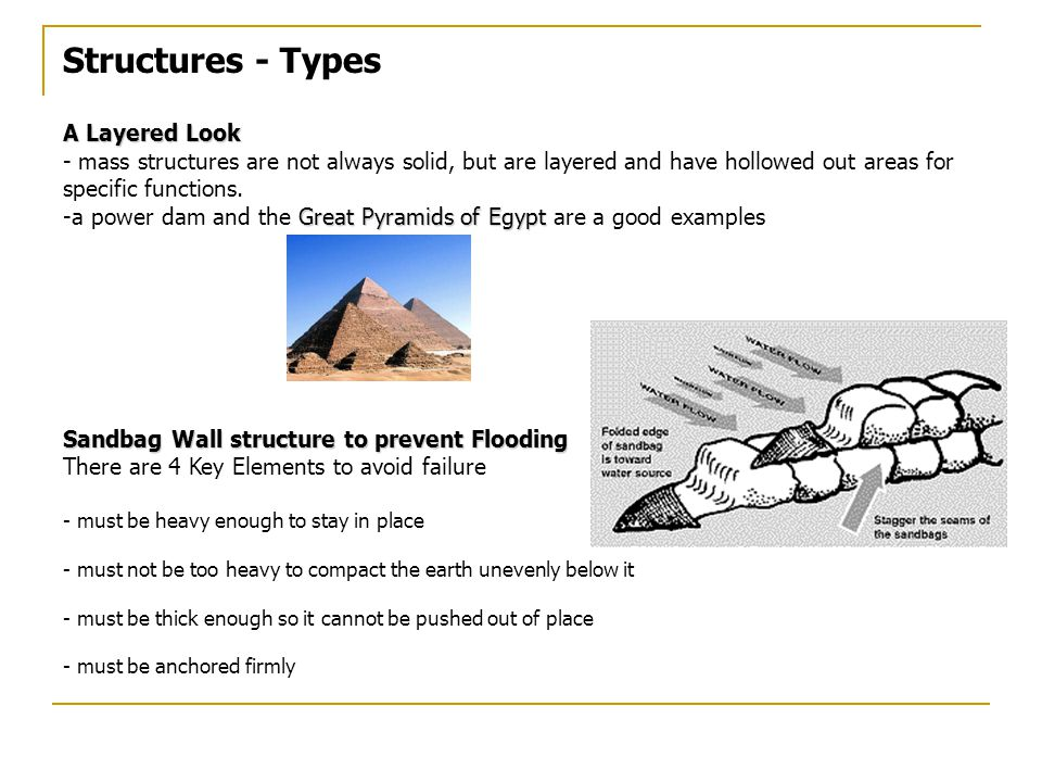 Structures - Types A Layered Look - mass structures are not always solid, but are layered and have hollowed out areas for specific functions.