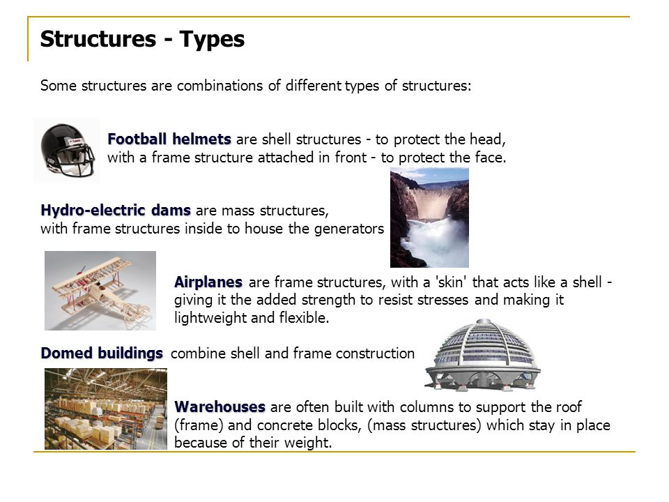 Structures - Types Some structures are combinations of different types of structures: Football helmets Football helmets are shell structures - to protect the head, with a frame structure attached in front - to protect the face.