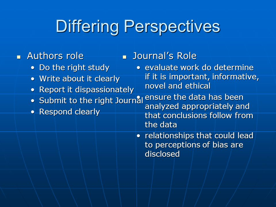Differing Perspectives Authors role Authors role Do the right studyDo the right study Write about it clearlyWrite about it clearly Report it dispassio