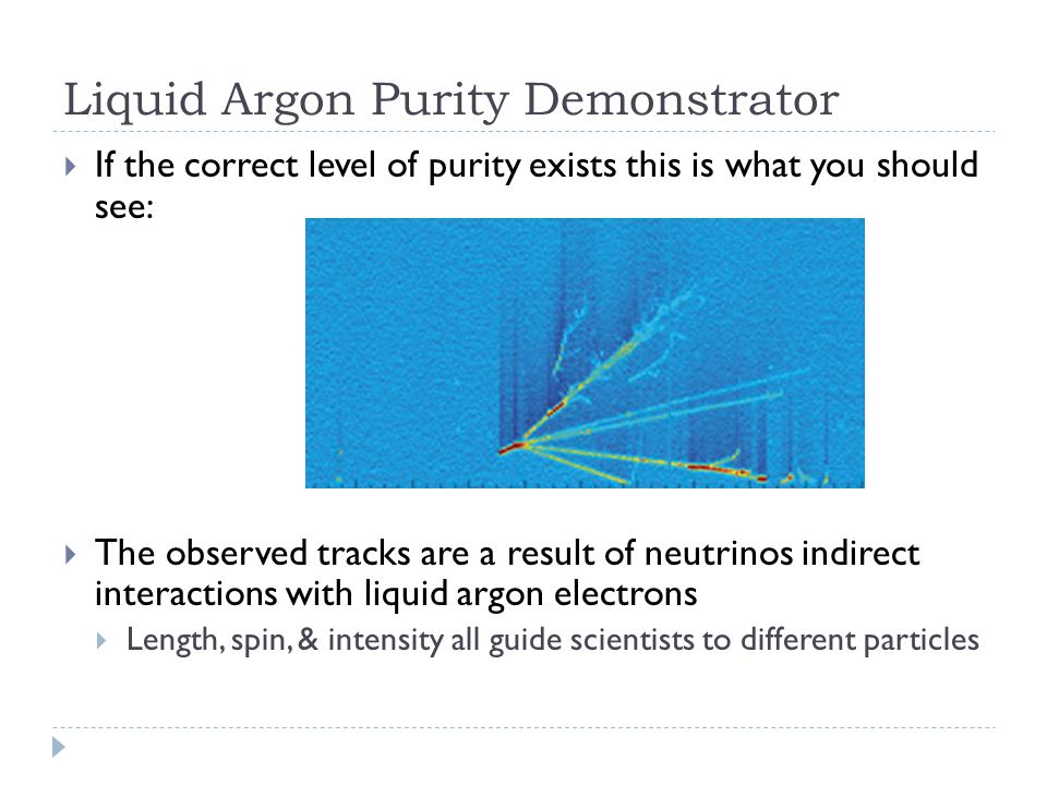 Liquid Argon Purity Demonstrator  If the correct level of purity exists this is what you should see:  The observed tracks are a result of neutrinos indirect interactions with liquid argon electrons  Length, spin, & intensity all guide scientists to different particles