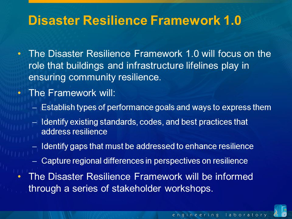 Disaster Resilience Standards Panel The DRSP will represent the broad interests of the stakeholder community.