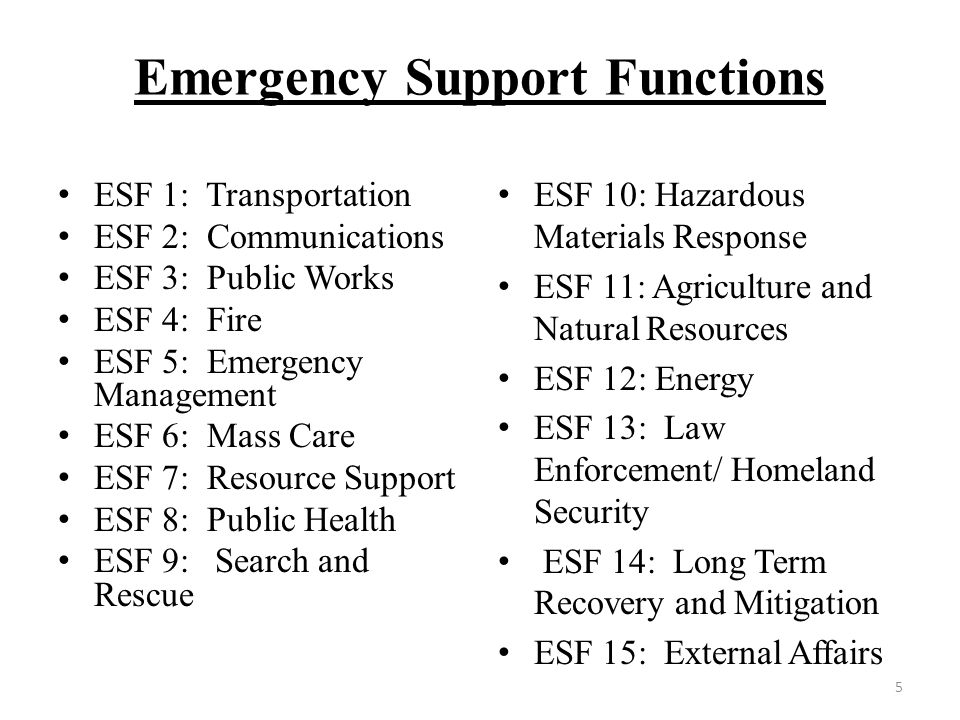 ESF 1: Transportation ESF 2: Communications ESF 3: Public Works ESF 4: Fire ESF 5: Emergency Management ESF 6: Mass Care ESF 7: Resource Support ESF 8: Public Health ESF 9: Search and Rescue ESF 10: Hazardous Materials Response ESF 11: Agriculture and Natural Resources ESF 12: Energy ESF 13: Law Enforcement/ Homeland Security ESF 14: Long Term Recovery and Mitigation ESF 15: External Affairs 5