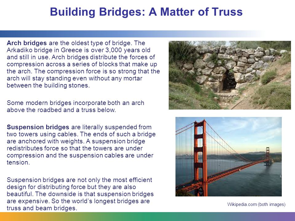 Building Bridges: A Matter of Truss Resources and bibliography: Stable and Unstable Structures http://www.discoveryeducation.com/teachers/free-lesson-plans/stable-and-unstable- structures.cfm Truss Bridges http://www.instructables.com/id/Teach-Engineering-Truss-Bridges/ Building Big: Bridges http://www.pbs.org/wgbh/nova/education/ideas/0000_bbbridge.html PhysicsQuest: Bridges http://physicsquest.homestead.com/bridge.html Build a Bridge http://www.pbs.org/wgbh/nova/tech/build-bridge-p3.html