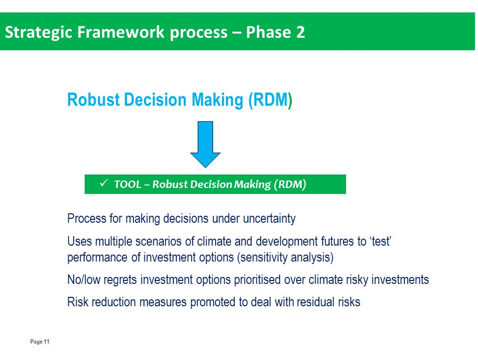 Page 11 Robust Decision Making (RDM) Process for making decisions under uncertainty Uses multiple scenarios of climate and development futures to 'test' performance of investment options (sensitivity analysis) No/low regrets investment options prioritised over climate risky investments Risk reduction measures promoted to deal with residual risks TOOL – Robust Decision Making (RDM) Strategic Framework process – Phase 2