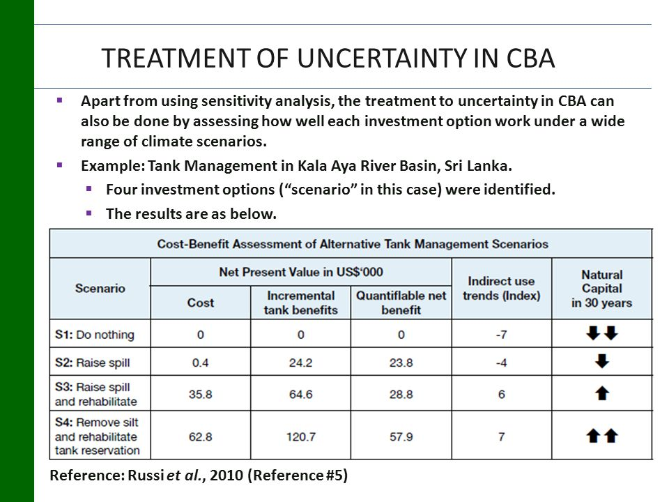 TREATMENT OF UNCERTAINTY IN CBA  Apart from using sensitivity analysis, the treatment to uncertainty in CBA can also be done by assessing how well each investment option work under a wide range of climate scenarios.