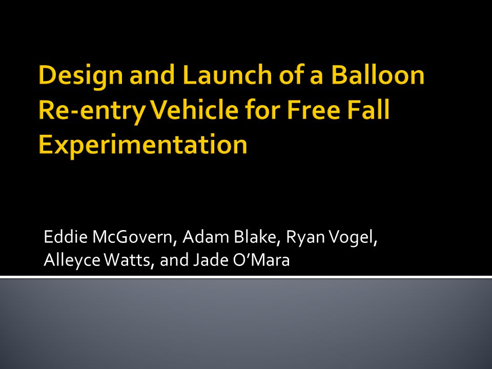  Introduction of 2011 Team  History and working designs of High Altitude Balloon  Design Parameters  Objective  Timeline  Thus Far  Questions?