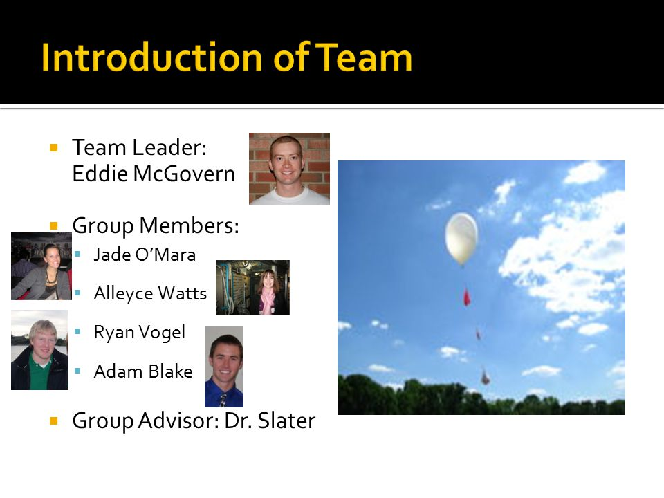  Team Leader: Eddie McGovern  Group Members:  Jade O'Mara  Alleyce Watts  Ryan Vogel  Adam Blake  Group Advisor: Dr.