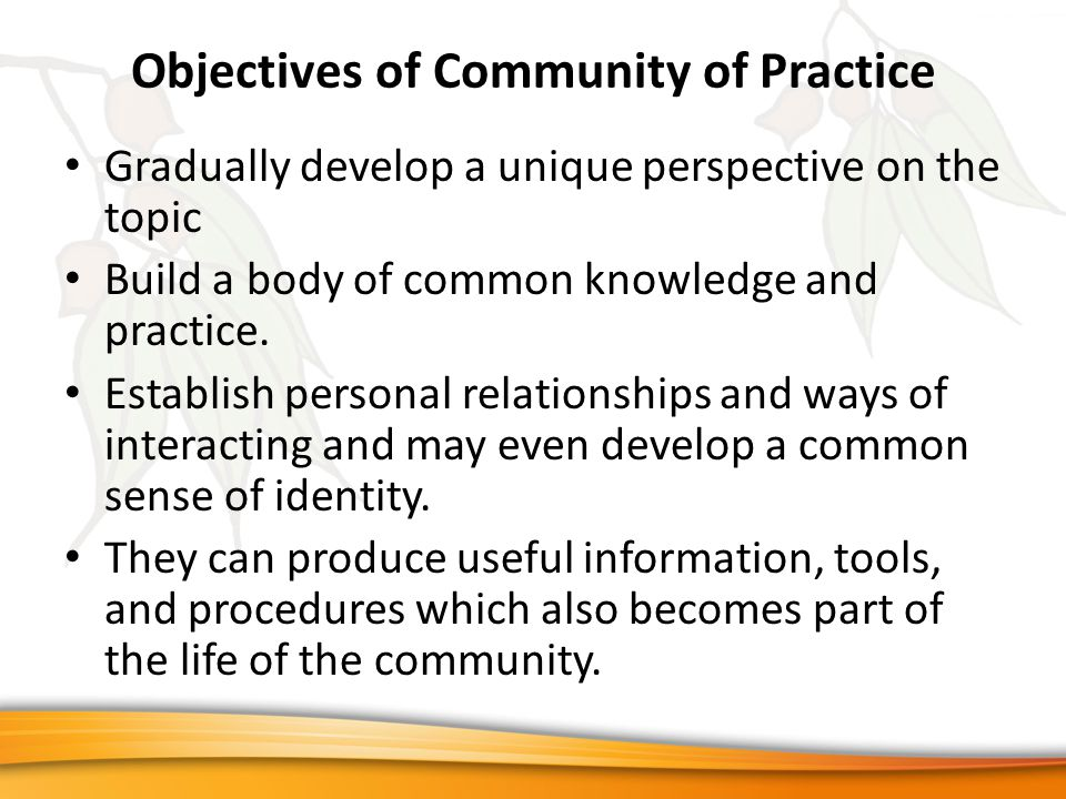 Objectives of Community of Practice Gradually develop a unique perspective on the topic Build a body of common knowledge and practice.