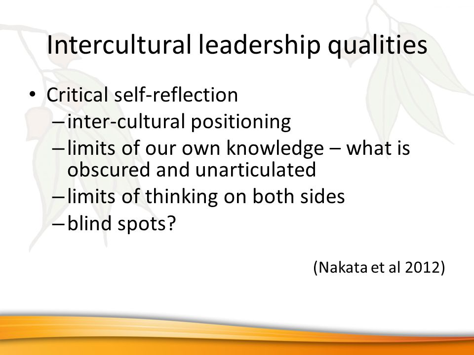 Intercultural leadership qualities Critical self-reflection – inter-cultural positioning – limits of our own knowledge – what is obscured and unarticulated – limits of thinking on both sides – blind spots.