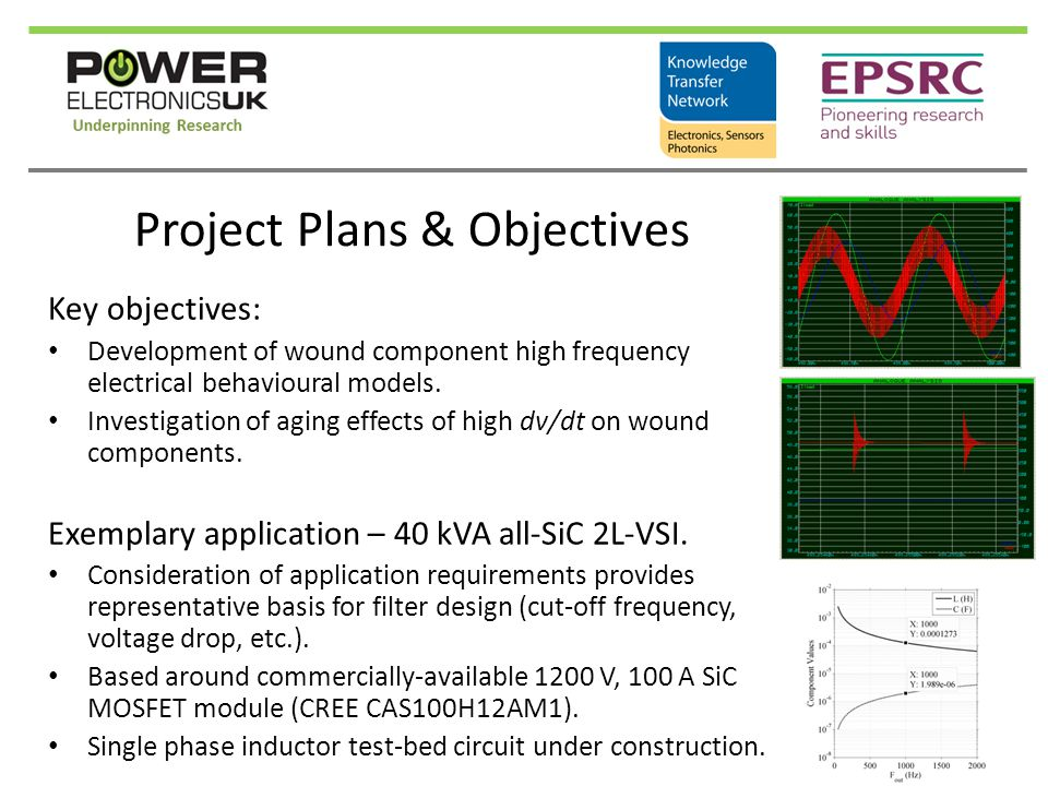 Project Plans & Objectives Key objectives: Development of wound component high frequency electrical behavioural models. Investigation of aging effects