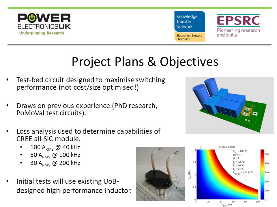 Project Plans & Objectives Test-bed circuit designed to maximise switching performance (not cost/size optimised!) Draws on previous experience (PhD re