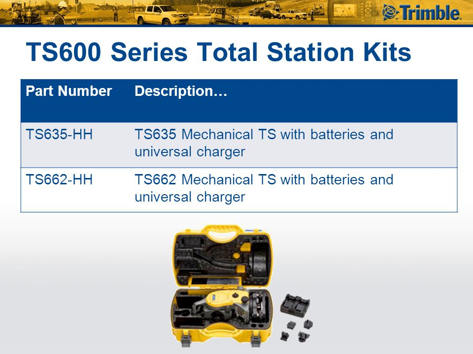 TS600 Series Total Station Kits Part NumberDescription… TS635-HHTS635 Mechanical TS with batteries and universal charger TS662-HHTS662 Mechanical TS w