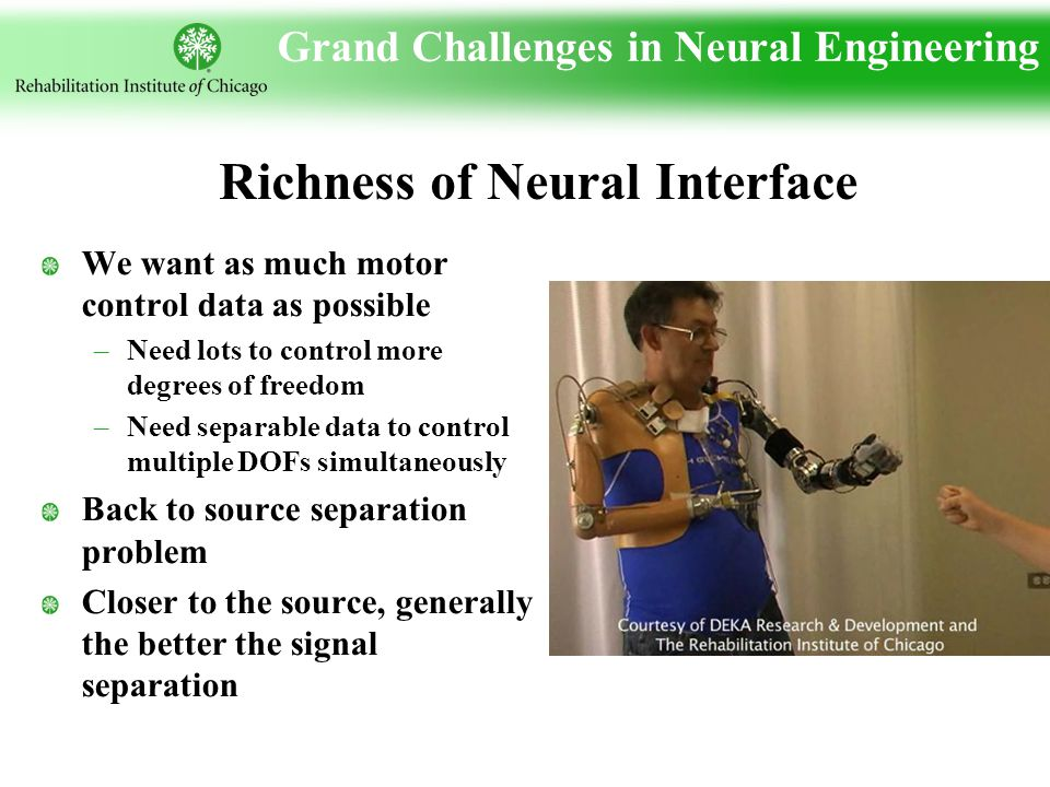 Grand Challenges in Neural Engineering We want as much motor control data as possible –Need lots to control more degrees of freedom –Need separable data to control multiple DOFs simultaneously Back to source separation problem Closer to the source, generally the better the signal separation Richness of Neural Interface