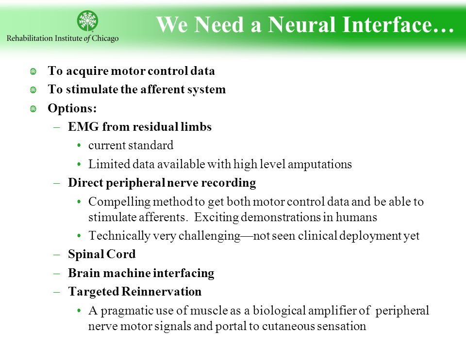 We Need a Neural Interface… To acquire motor control data To stimulate the afferent system Options: –EMG from residual limbs current standard Limited data available with high level amputations –Direct peripheral nerve recording Compelling method to get both motor control data and be able to stimulate afferents.