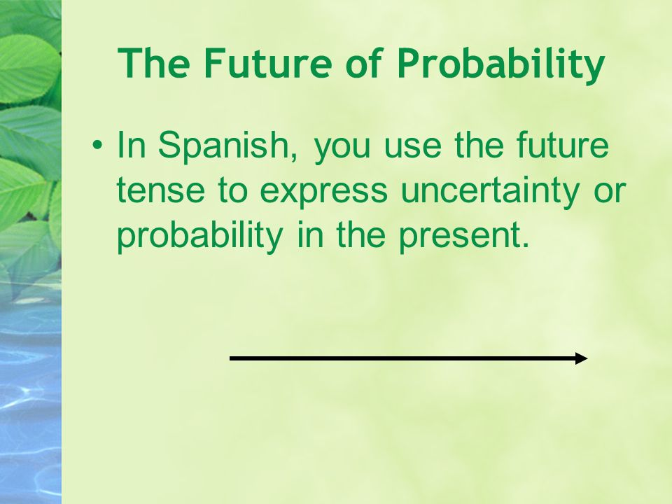 The Future of Probability In Spanish, you use the future tense to express uncertainty or probability in the present.