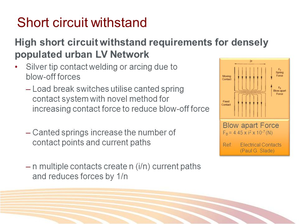 Short circuit withstand High short circuit withstand requirements for densely populated urban LV Network Silver tip contact welding or arcing due to blow-off forces –Load break switches utilise canted spring contact system with novel method for increasing contact force to reduce blow-off force –Canted springs increase the number of contact points and current paths –n multiple contacts create n (i/n) current paths and reduces forces by 1/n Blow apart Force F B = 4.45 x i 2 x 10 -7 (N) Ref: Electrical Contacts (Paul G.