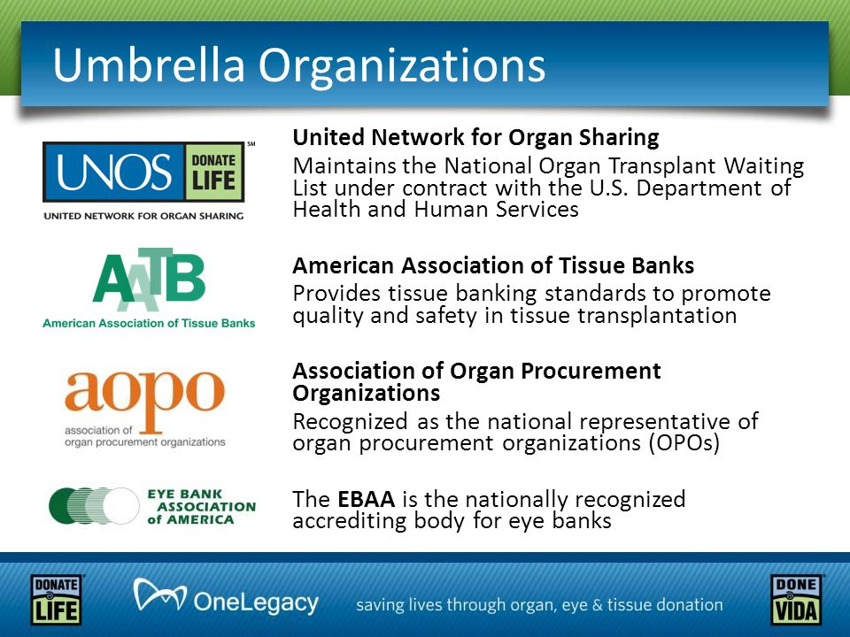 Umbrella Organizations United Network for Organ Sharing Maintains the National Organ Transplant Waiting List under contract with the U.S. Department o