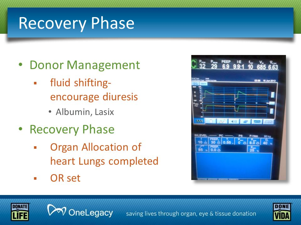 Donor Management  fluid shifting- encourage diuresis Albumin, Lasix Recovery Phase  Organ Allocation of heart Lungs completed  OR set Recovery Phase