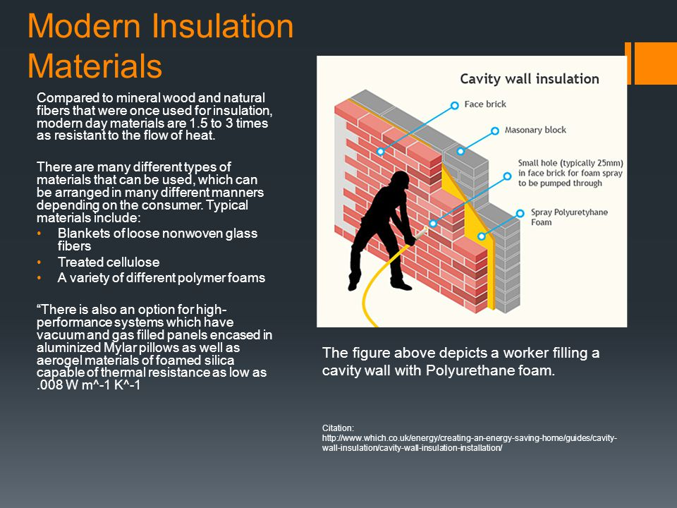 Modern Insulation Materials Compared to mineral wood and natural fibers that were once used for insulation, modern day materials are 1.5 to 3 times as resistant to the flow of heat.