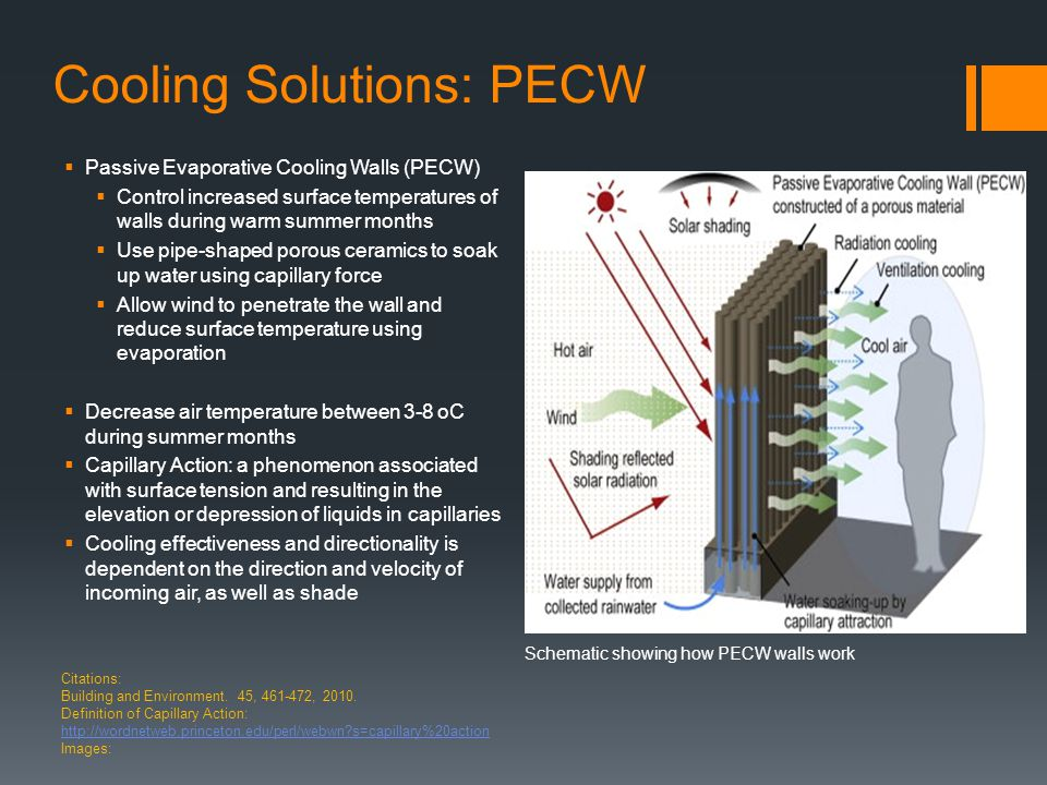 Cooling Solutions: PECW  Passive Evaporative Cooling Walls (PECW)  Control increased surface temperatures of walls during warm summer months  Use pipe-shaped porous ceramics to soak up water using capillary force  Allow wind to penetrate the wall and reduce surface temperature using evaporation  Decrease air temperature between 3-8 oC during summer months  Capillary Action: a phenomenon associated with surface tension and resulting in the elevation or depression of liquids in capillaries  Cooling effectiveness and directionality is dependent on the direction and velocity of incoming air, as well as shade Citations: Building and Environment.