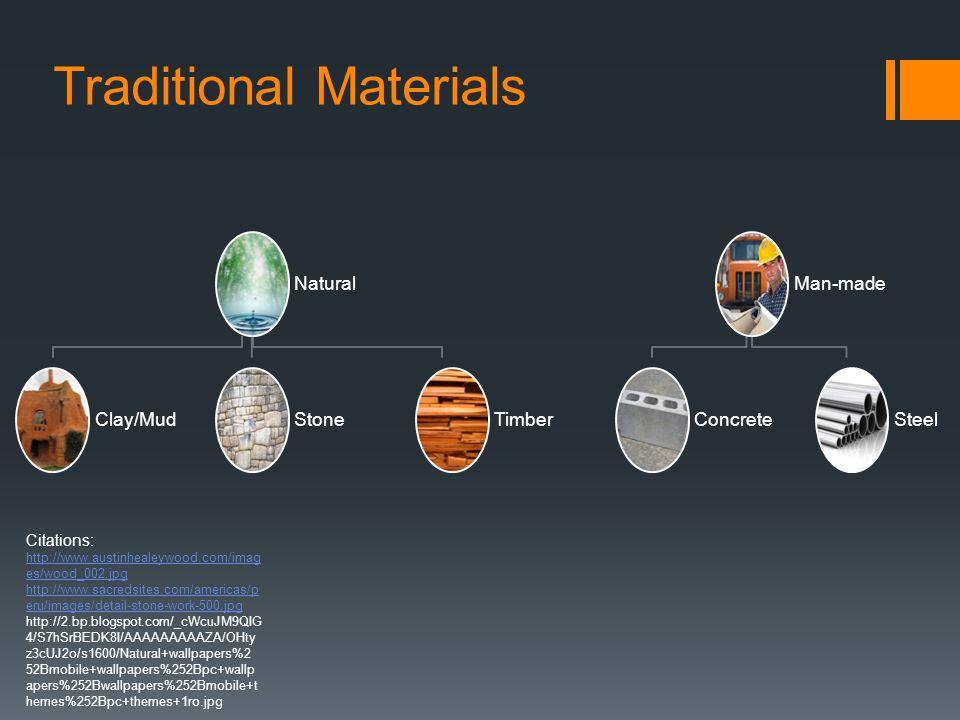 Natural Clay/MudStoneTimber Man-made ConcreteSteel Traditional Materials Citations: http://www.austinhealeywood.com/imag es/wood_002.jpg http://www.sa