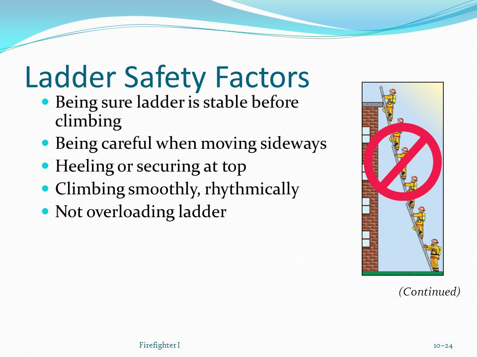 Ladder Safety Factors Being sure ladder is stable before climbing Being careful when moving sideways Heeling or securing at top Climbing smoothly, rhythmically Not overloading ladder Firefighter I10–24 (Continued)