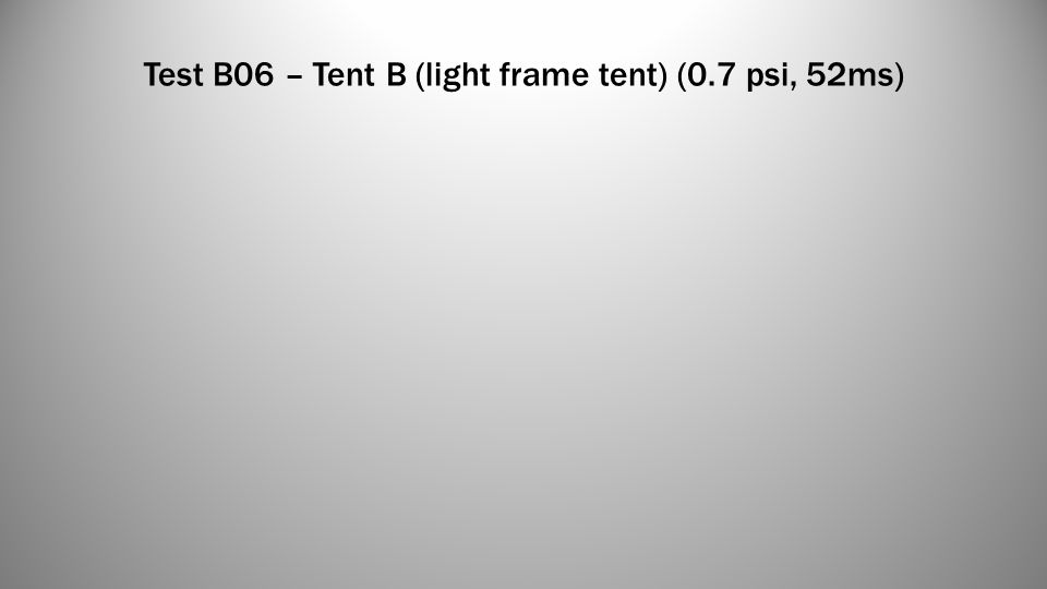 Test B06 – Tent B (light frame tent) (0.7 psi, 52ms)