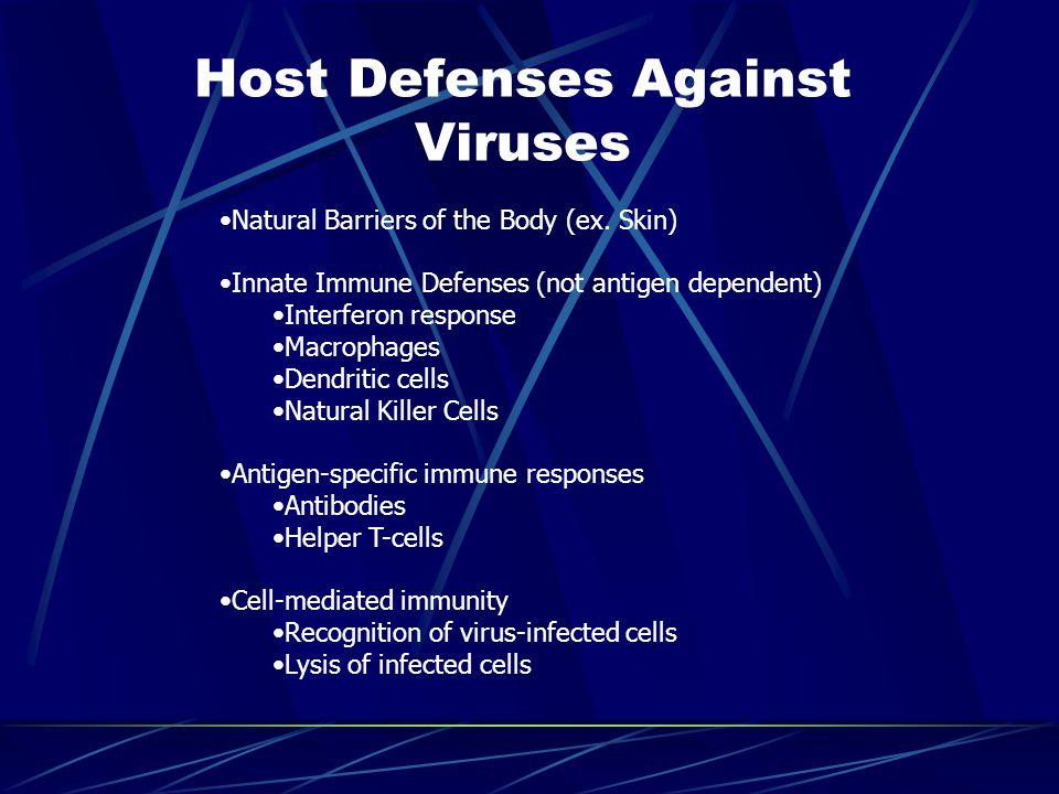 Host Defenses Against Viruses Natural Barriers of the Body (ex. Skin) Innate Immune Defenses (not antigen dependent) Interferon response Macrophages D