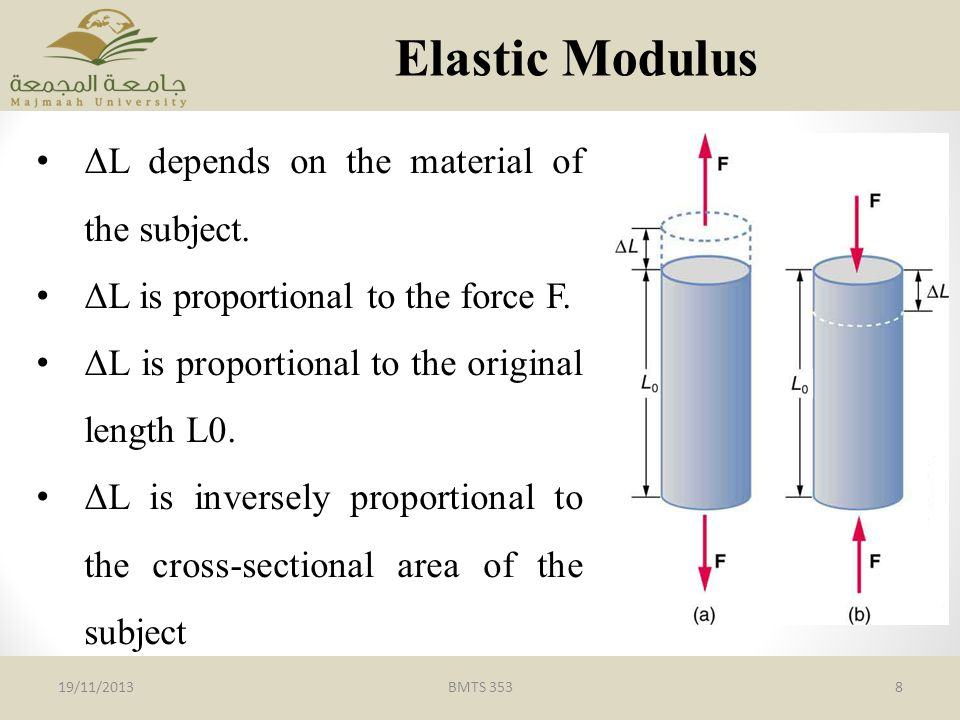 BMTS 3538 Elastic Modulus ΔL depends on the material of the subject.