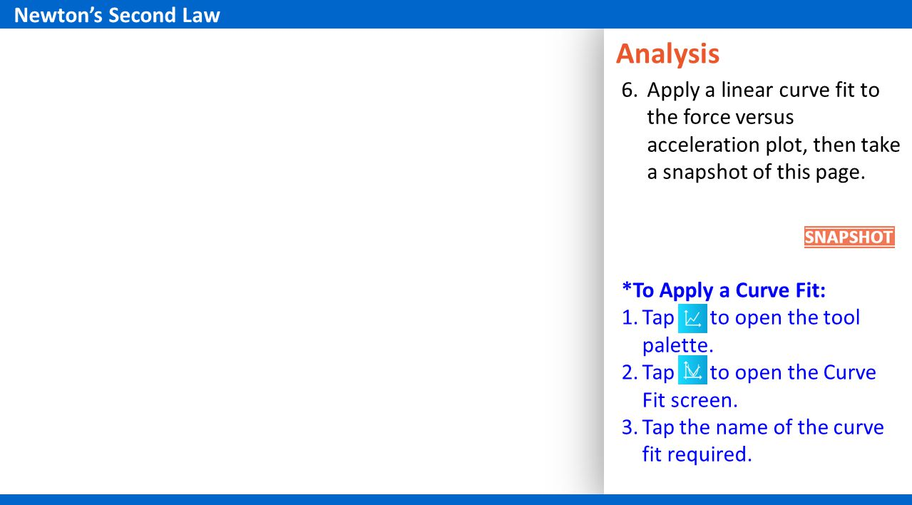 Analysis 6.Apply a linear curve fit to the force versus acceleration plot, then take a snapshot of this page.